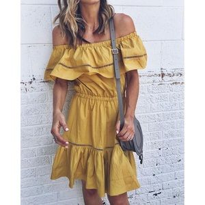 Chicwish Yellow Off the Shoulder Dress
